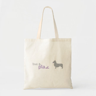 Live & Play | Purple Corgi Tote Budget Tote Bag