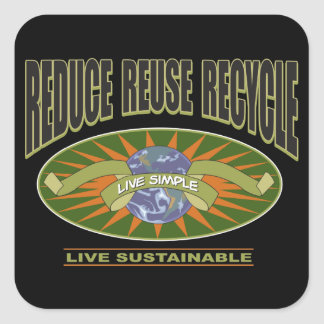 Live Simple Live Sustainable Square Sticker