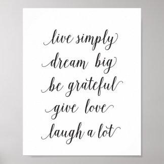 Live simply, dream big - art print - quote