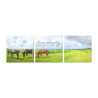 """Live Simply"" Quote Hawaii Horses Photo Tryptic Canvas Print"