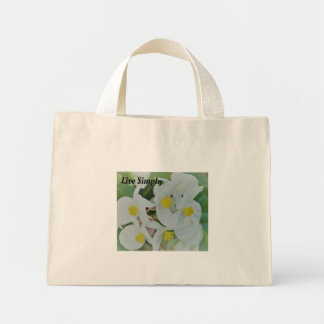 Live Simply White orchid tote