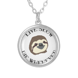 LIVE SLOW DIE WHENEVER SILVER PLATED NECKLACE
