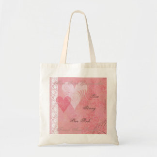 Live Strong Live Pink Hearts & Lace Budget Tote Bag