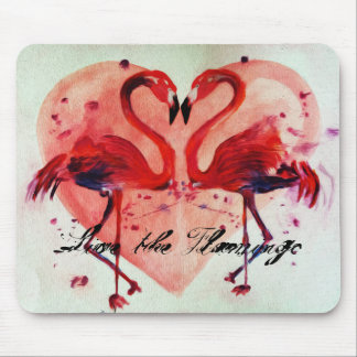 Live the flamingo/Heart - Mousepad