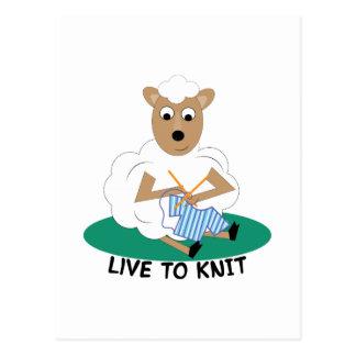 Live To Knit Postcard