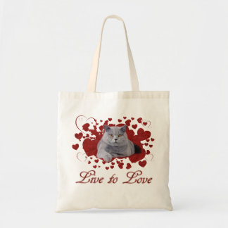 Live to love cat budget tote bag