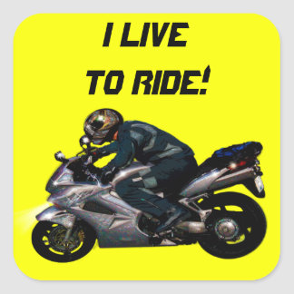 Live To Ride Motorbiker Square Stickers