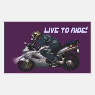 Live To Ride Motorbiker Rectangular Sticker