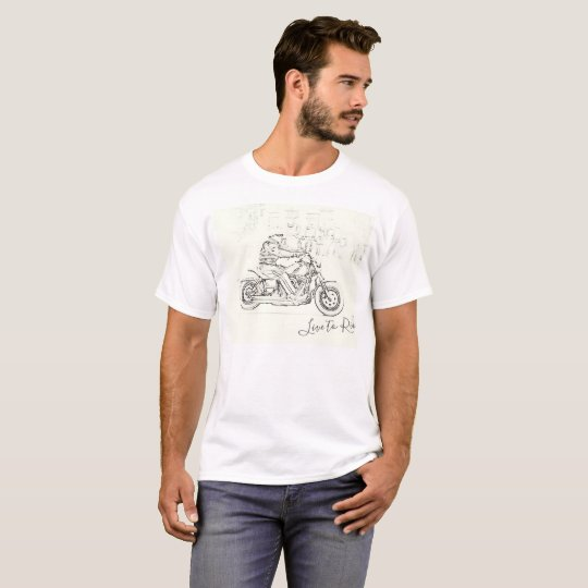 Live To ride Motorcycle Motorbike Sketch T-Shirt