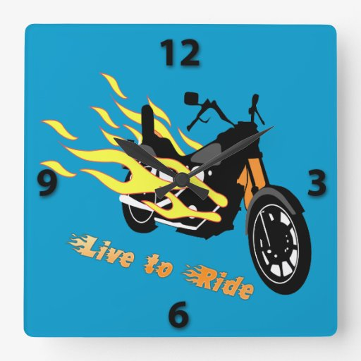 Live to Ride - Motorcycle Square Wall Clock