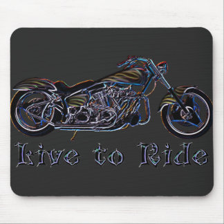 Live to Ride Neon Motorcycle Mousepad
