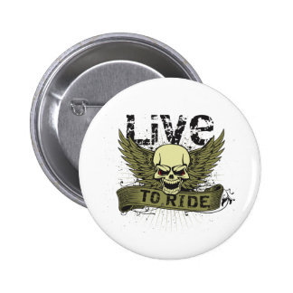Live To Ride Skull With Wings Buttons