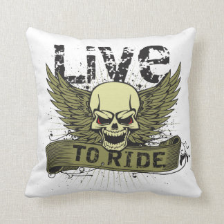 Live To Ride Skull With Wings Pillows