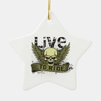 Live To Ride Skull With Wings Christmas Tree Ornament