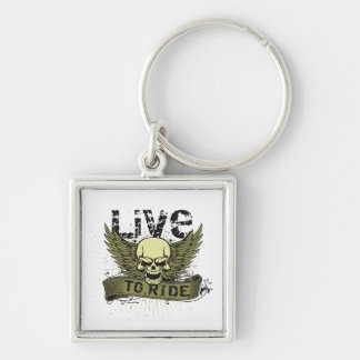 Live To Ride Skull With Wings Key Chain