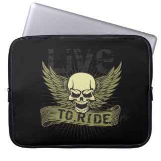 Live To Ride Skull With Wings Laptop Computer Sleeve
