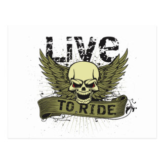 Live To Ride Skull With Wings Postcard
