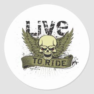 Live To Ride Skull With Wings Round Sticker