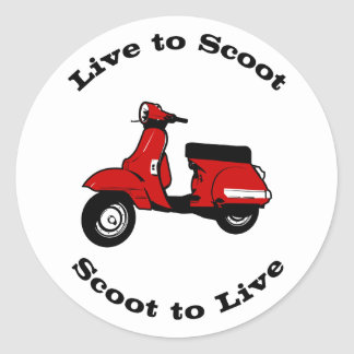 Live to Scoot Round Sticker