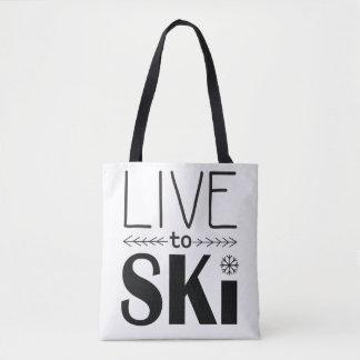 Live to Ski bag - white
