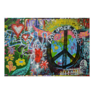 Live Upside Down Peace Sign Wall Poster