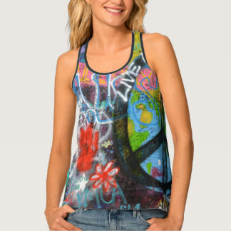 Live Upside Down Peace Sign Wall Singlet