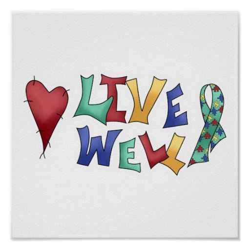 Live Well Autism Awarness Design Poster