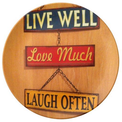 Live well decorative plate porcelain plates