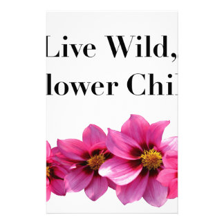 Live Wild Flower Child Stationery