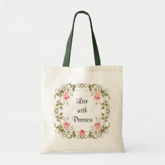 Live With Passion Rose Floral Budget Tote Bag