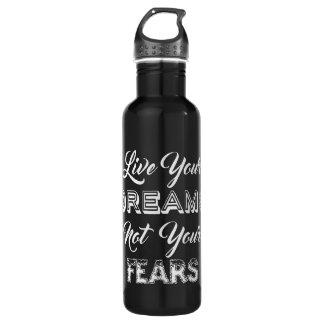 Live Your Dreams custom name water bottles