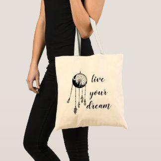"""live your dreams"" Feather Dreamcatcher Mandala Tote Bag"