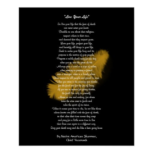 """""""Live Your Life""""  Golden feather by Chief Tecumseh Print"""