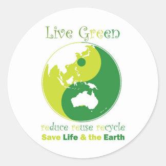 LiveGreen AustralAsia ying yang Round Sticker