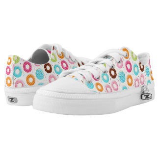 Lively colorful donuts sprinkles toppings pattern low tops