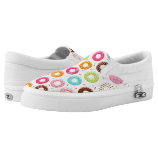 Lively colorful donuts sprinkles toppings pattern slip on shoes