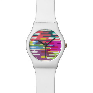 Lively colourful line pattern watch