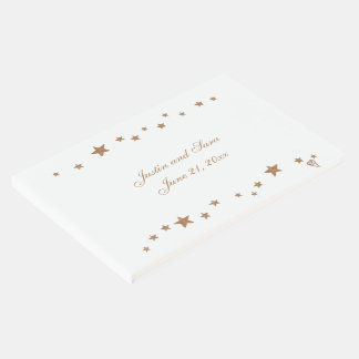 Lively Gold Stars Border Personalized Guest Book