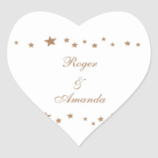 Lively Gold Stars Border Personalized Wedding Seal Heart Sticker