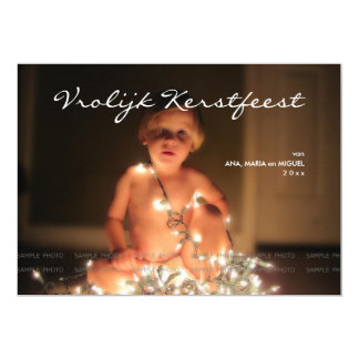 Lively Kerstfeest Christmas photograph blue blank Card