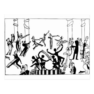 Lively Party with Dancing Postcard