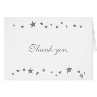 Lively Silver Stars Wedding Thank you Note Cards