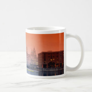 Liver buildings from Albert Dock Complex, Liverpoo Basic White Mug