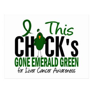 LIVER CANCER Chick Gone Emerald Green Postcard