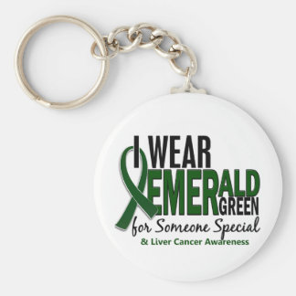 Liver Cancer I Wear E Green For Someone Special 10 Basic Round Button Key Ring