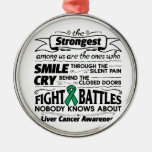 Liver Cancer Strongest Among Us Silver-Colored Round Decoration
