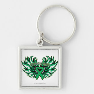 Liver Disease Awareness Heart Wings.png Silver-Colored Square Key Ring