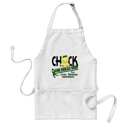 Liver Disease Chick Gone Emerald Green 2 Apron