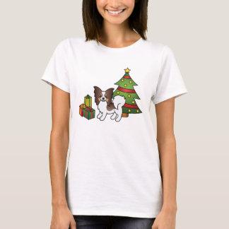 Liver Tricolor Papillon Christmas Dog T-Shirt