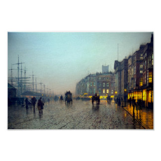 Liverpool from Wapping vintage painting Poster